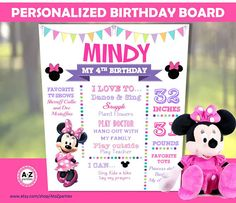 Minnie Mouse Birthday Board Any Age Favorites Poster Minnie