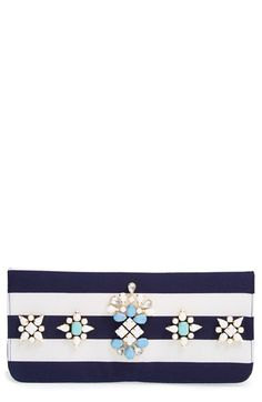 Shiraleah 'Berenice' Embellished Stripe Clutch available at #Nordstrom