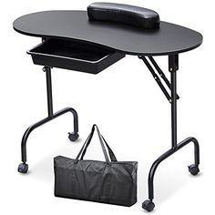 Popamazing Portable Folding collapsible Manicure Table Nail Art Desk Pull Out Drawer + Carry Bag + Wrist Rest (Black)