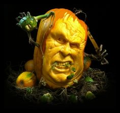 Realistic Pumpkin carving by Ray Villafane