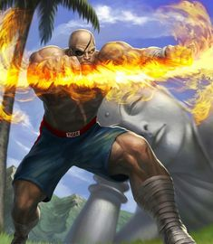 Sagat Illustration for Street Fighter: The Miniatures Game from Jasco Games and The Angry Joe Show Art by Gunship Revolution's Tots Valeza Find ou. Sagat Street Fighter, Capcom Street Fighter, Street Fighter Characters, Super Street Fighter, Mileena, Street Fights, Samurai Art, King Of Fighters, Game Character
