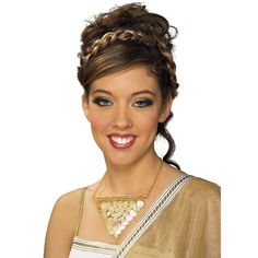 Grecian Necklace Description: Look like a Grecian Goddess! Show your style with this fabulous gold coin Grecian Necklace! Coins are linked together Grecian Hairstyles, Goddess Hairstyles, Wedding Hairstyles, Greek Hairstyles, Greek Goddess Dress, Grecian Goddess, Short Curly Hair Updo, Curly Hair Styles, Halloween Costume Accessories