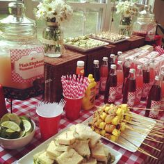 country picnic theme bridal shower table layout