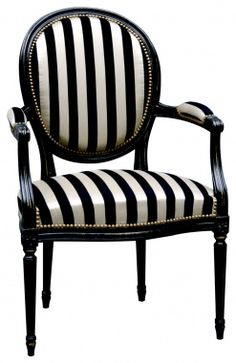 black and white striped chair.