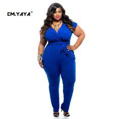e54eab2a54f Sexy Deep V Neck Jumpsuits Plus Size Tie Waist Rompers Women Black Blue  Shorts Sleeve Jumpsuit Club Wear