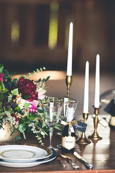Burgundy and Gold Place Setting | One Summer Day Photography | Designer Wedding and Holiday Style from Rent the Runway!