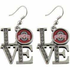 Ohio State Buckeyes Ladies Rhinestone Love Dangle Earrings