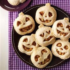Mini Maple Pumpkin Pies Recipe- Recipes I love to bake with my children, and this is one recipe my 3-year-old can help me make. We use our own maple syrup. Create your own designs for eyes and grins on these pumpkins, just like when you carve a jack-o'-lantern! —Allison Wilmarth, Forest City, Pennsylvania