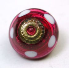 Antique Charmstring Button Cranberry w OME Brass Ring & White Dots Accent Sw Bk