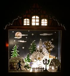 Christmas LED Wooden Village Church House Nativity 28cm – Hand Painted  This charming wooden village scene is packed full of great detail and features a variety of buildings, characters and even shows Father Christmas with his sleigh going past the moon. It is framed by a beautiful house. Battery operated so can be used anywhere around the home with no unsightly wires to worry about.This wooden scene is hand painted using mixed media, varnish and acrylic paint Currently on EBay UK