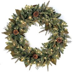 $26.99-$59.95 GKI Bethlehem Lighting Green River Spruce 24-Inch Wreath with 50 Clear Mini Lights - The Green River Spruce Collection offers superior quality construction and breathtaking style and design!  A profusion of PE and PVC branches sprinkled with fern-like stems, supple amethyst accented leaves and small pine cones. So beautiful you don't even have to decorate it! http://www.amazon.com/dp/B0014JEI2C/?tag=pin2wine-20