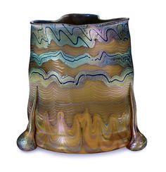 A Loetz Iridescent Applied Glass Vase design attributed to Marie Kirschner, circa 1900