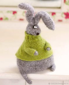 Grey stuffed bunny in sweater bunny Plush Toy bunny Hand-knitted Amigurumi bunny Miniature bunny Doll stuffed toy bunny woolen crochet toys by MiracleStore on Etsy Bunny Plush, Bunny Toys, Crochet Toys Patterns, Knitting Patterns, Amigurumi Patterns, Crochet Rabbit, Knitted Animals, How To Purl Knit, Sewing Basics
