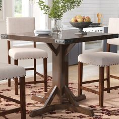 Felix Counter Height Dining Table by Gracie Oaks – Tarzanja Solid Wood Table Tops, Solid Wood Dining Set, 5 Piece Dining Set, Counter Height Kitchen Table, Dining Table In Kitchen, Bar Counter, Dining Tables, Dining Area, Bar Height Dining Table