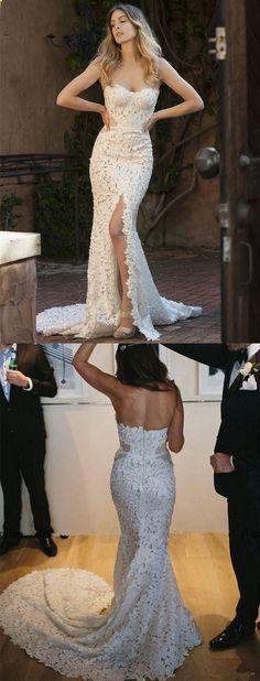 slit wedding dresses, mermaid wedding dresses,  sweetheart bridal dresses, high split wedding dresses, lace wedding dresses, long wedding dresses