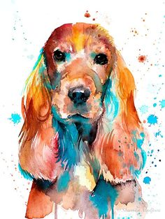 English Cocker Spaniel watercolor painting print by Slaveika Aladjova