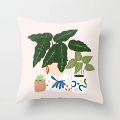 Potted Throw Pillow by Rhianna Marie Chan - Cover x with pillow insert - Indoor Pillow Throw Cushions, Couch Pillows, Designer Throw Pillows, Down Pillows, Accent Pillows, Garden Nursery, Fluffy Pillows, Pillow Design, Pillow Inserts