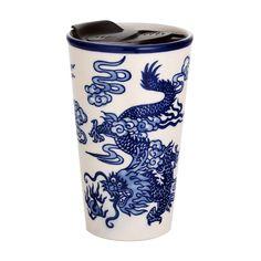 Handpainted Ryu Dragon Design Porcelain Travel Mug Double Wall | Etsy Asian Design, Fish Design, Dragon Design, Paint Designs, Safe Food, Coffee Cups, Oriental, Porcelain, Hand Painted