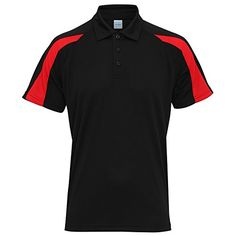 Awdis Just Cool Mens Short Sleeve Contrast Panel Polo Shirt (s) (jet Black/fire Red)