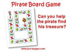 Printable Pirate Board Game for #preschool and #kindergarten