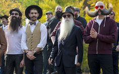 Contestants gather to promote the National Beard and Moustache Championships in New York