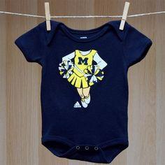 Michigan Baby Girl Cheerleader Head Creeper