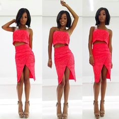 E! News Presenter Zuri Hall is pretty in pink in the Acid Rain Strapless Top & Skirt! Xx