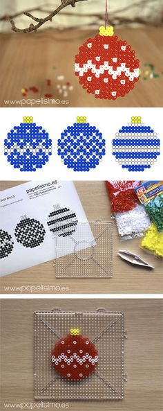 DIY Christmas baubles hama beads by Papelisimo Christmas Balls Diy, Christmas Perler Beads, Beaded Christmas Ornaments, Christmas Crafts, Pearler Bead Patterns, Pearler Beads, Perler Bead Art, Perler Bead Designs, Hama Perler