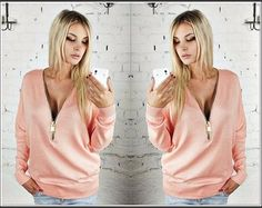 Stylish Low Cut Zip-Up Sweatshirts