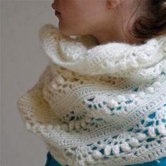 Crochet White Mohair Oversized Cowl Iris - PDF PATTERN via Etsy