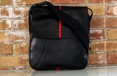 Recycled Tractor Tire Messenger Bag With Red by TheSpottedDoor, $54.99