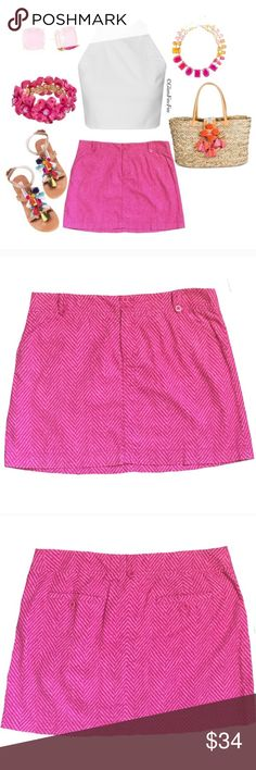 """Lilly Pulitzer Hot Pink Skirt Lilly Pulitzer Chevron Skirt  •Size 10 •Variations of Pink  •Chevron Print •100% Cotton {{Feels a bit like a lighter corduroy}} •Belt Loops •Hidden Zip & 2 Button Closure •2 Front Slant Pockets •2 Back Button Pockets •Approx 17"""" Hip to Hip Across Waist Laying Flat •Approx 15.5"""" From Waist to Hem Lilly Pulitzer Skirts"""
