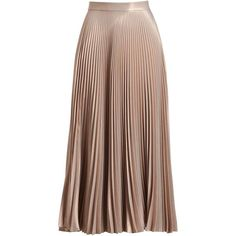 A.L.C. Bobby Metallic Pleated Midi Skirt (£485) ❤ liked on Polyvore featuring skirts, bottoms, pink, metallic midi skirt, metallic skirt, mid calf skirts, calf length skirts and pink skirt