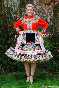 Slovakian national costume -- Photo taken in Kašmerinka, Slovakia -- I wonder if my great-grandfather's sisters had dresses like this one for the holidays.