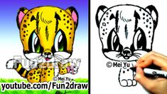 How to Draw Animals - How to Draw a Baby Cheetah - Cute Art - Fun2draw
