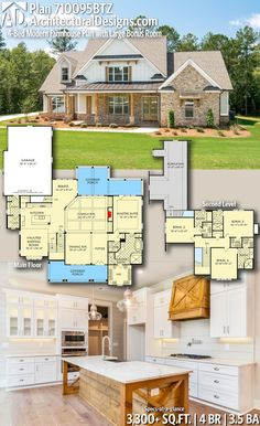 Building A House Discover Plan Modern Farmhouse Plan with Large Bonus Room Architectural Designs New American Home Plan gives you 4 bedrooms baths and 3300 sq. Where do YOU want to build? New House Plans, Dream House Plans, House Design Plans, Four Bedroom House Plans, House Plans 2 Story, Bungalow House Plans, Modern Farmhouse Plans, Farmhouse Decor, Farmhouse Stairs