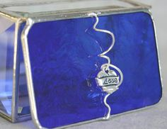 Stained Glass Box for Jewelry Cobalt Blue w/ Love heart charm by GaleazGlass