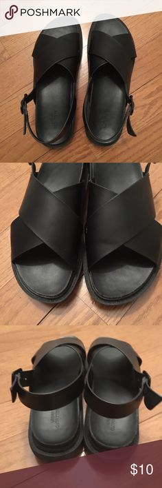 Black thick sole sandals Black thick sole sandals with thick straps across top of feet. Buckle clasp Urban Outfitters Shoes Sandals