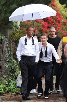 The boys are back in town. Justin Timberlake and Jay-Z hang on the set of their new music video 'Suit and Tie' in Los Angeles.