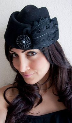 Mishka Black Wool Pillbox Hat w/ curly goose feathers and black beaded medallion. #millinery #judithm #hats