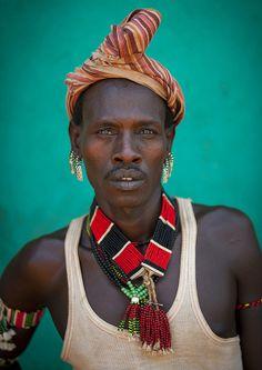 Colourful Hamar Tribe Man, Turmi, Omo Valley, Ethiopia - human - people - face -portrait - photography