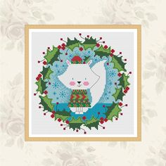 mr arctic fox wreath cross stitch pattern by DureneJones on Etsy https://www.etsy.com/ie/listing/244528129/mr-arctic-fox-wreath-cross-stitch
