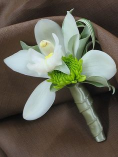 groom: cymbidium orchid boutonniere (probably without the mum…maybe just a single white or single green cymbidium) Orchid Boutonniere, Groomsmen Boutonniere, Corsage And Boutonniere, Boutonnieres, Prom Flowers, Flowers In Hair, Wedding Flowers, Corsage Wedding, Wedding Bouquets