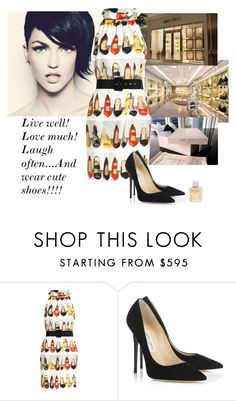 """""""Live Well"""" by katiethomas-2 ❤ liked on Polyvore featuring Jimmy Choo and Moschino"""