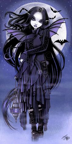 Morgan Gothic Purple Vampire Bat Fairy Moon by Myka Jelina