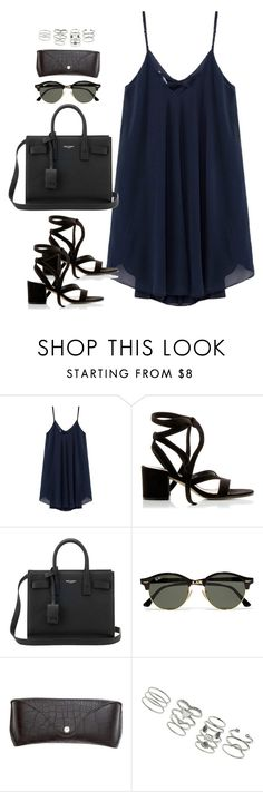"""Untitled#4415"" by fashionnfacts ❤ liked on Polyvore featuring Gianvito Rossi, Yves Saint Laurent, Ray-Ban, H&M and Miss Selfridge"