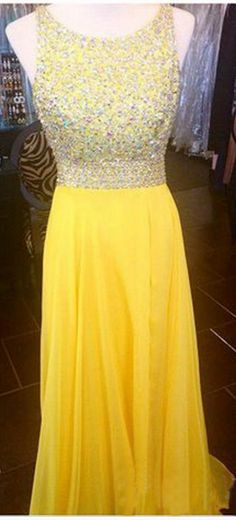 Open Back Prom Dresses, Yellow Prom