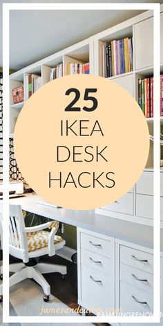 Setting up your home work space is a very personal thing and an Ikea desk hack can help you create the perfect home office cheaply. There are so many great ideas that customize Ikea products through hacks to achieve the right desk layout for you. Ikea Office Hack, Ikea Home Office, Diy Office Desk, Office Hacks, Desk Hacks, Home Office Space, Ikea Hacks, Office Ideas, Diy Desk
