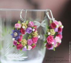 """Серьги-кольца и серьги-гвоздики """"Ариадна"""" - серьги,серебряные серьги,серьги с цветами Earrings and stud earrings """"Ariadne"""" - #earrings, silver earrings, earrings with flowers"""