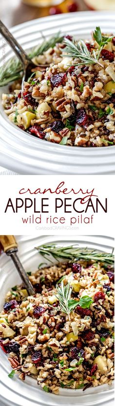 Easy one pot Cranberry Apple Pecan Wild Rice Pilaf simmered in herb seasoned chicken broth and apple juice and riddled with sweet dried cranberries, apples and roasted pecans for an unbelievable savory sweet side dish perfect for the holidays. Everyone always asks for this recipe! #thanksgiving